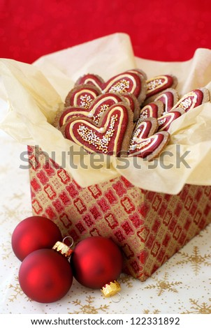 Christmas decorated gingerbread cookies in a giftbox - stock photo