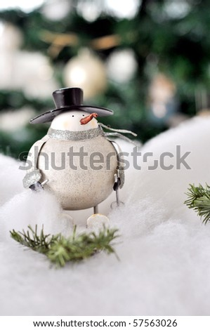 Christmas decorated snowman - stock photo