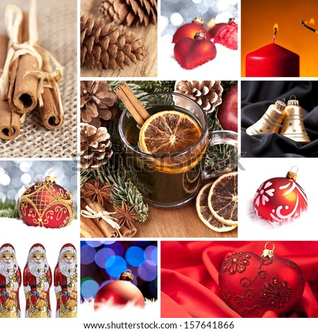 christmas decoration advent time set collage - stock photo