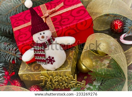 Christmas decoration an presents  - stock photo