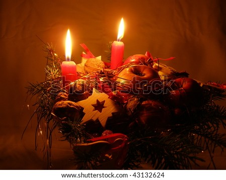 Christmas decoration and candles - stock photo