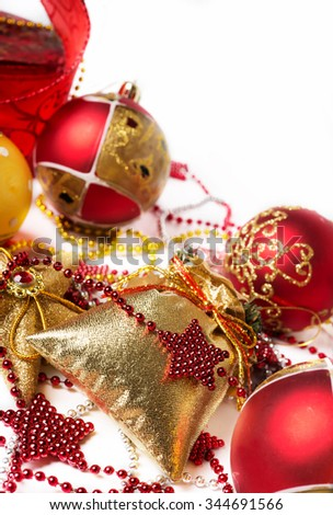 Christmas decoration background against white - stock photo