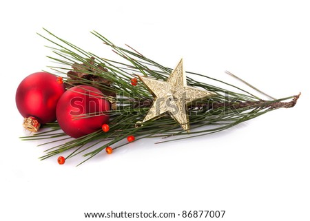 Christmas decoration background with red baubles and christmas star - stock photo