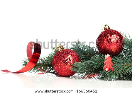 Christmas decoration balls with fir-tree - stock photo