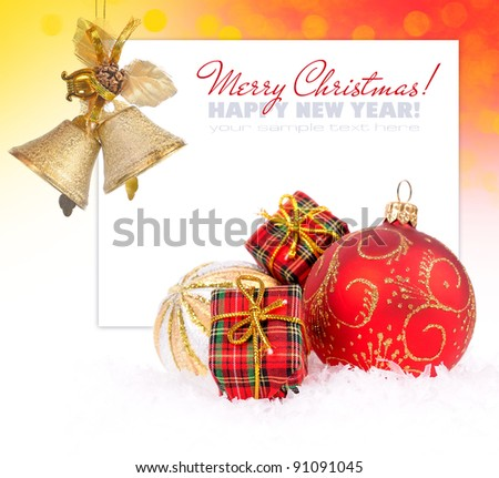 Christmas decoration baubles on white with space for text