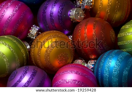 Christmas decoration baubles or ball with glitter making a colorful background