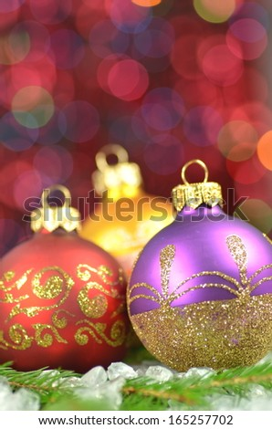 christmas decoration, Christmas balls against bokeh background - stock photo