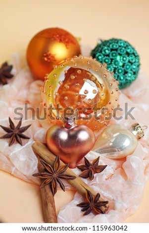 christmas decoration, christmas baubles, star anise and cinnamon sticks