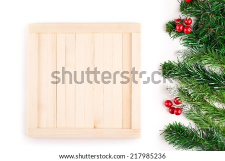 Christmas decoration. Christmas Border isolated on white with copy space. Above view - stock photo