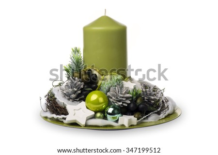 Christmas decoration - christmas composition made from cones, candles and christmas decorative accessories isolated. - stock photo