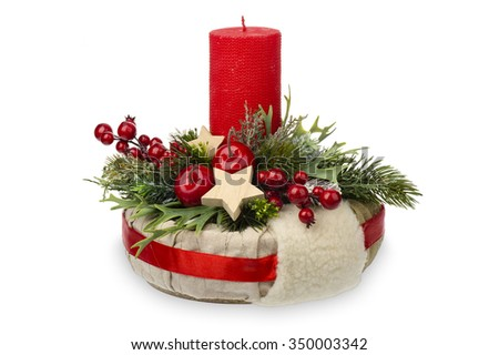 Christmas decoration - christmas composition made from wreath, candles and christmas decorative accessories isolated. - stock photo