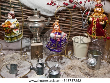 Christmas decoration Christmas decorations in Russian style - stock photo