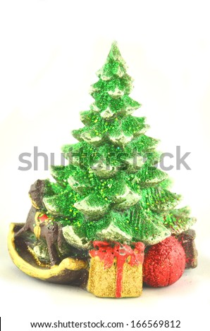 christmas decoration, christmas tree isolated on white - stock photo