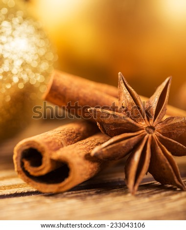 Christmas decoration, close-up, anise, cinnamon, - stock photo