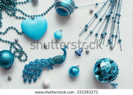 christmas decoration colour themes: Blue - stock photo