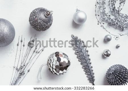 christmas decoration colour themes: Silver - stock photo