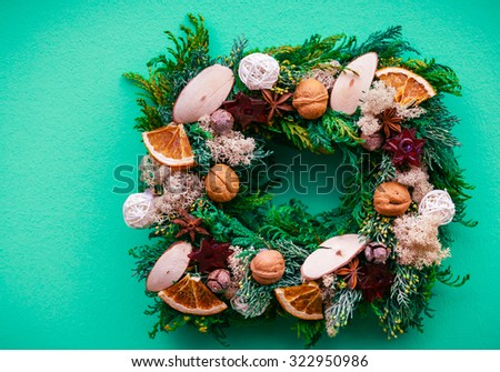 Christmas decoration evergreen wreath decorated with  balls  - stock photo