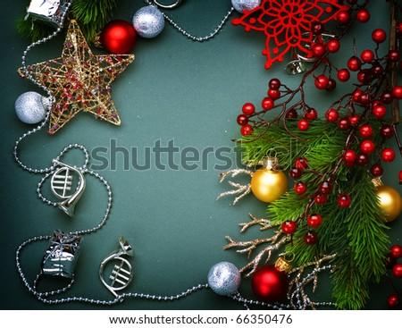 Christmas Decoration frame - stock photo