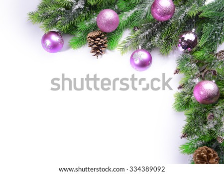 Christmas decoration frame isolated on white