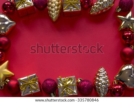 Christmas decoration frame on red background