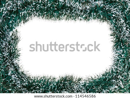 Christmas decoration framework with artificial tinsel - stock photo