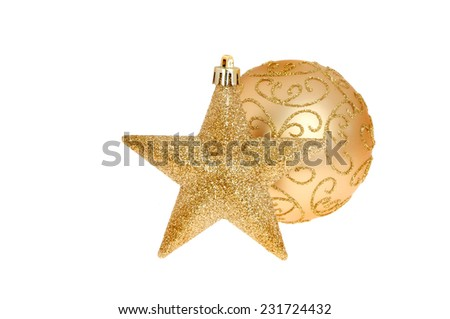 Christmas decoration gold glitter star and bauble isolated against white - stock photo