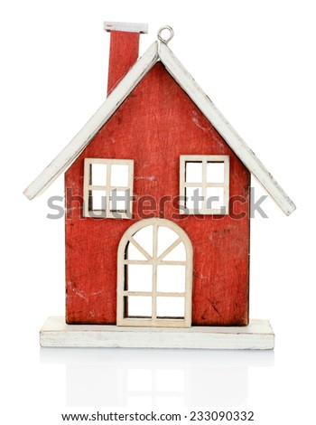 Christmas decoration in shape house isolated on white - stock photo