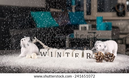 Christmas decoration indoor with snow - stock photo