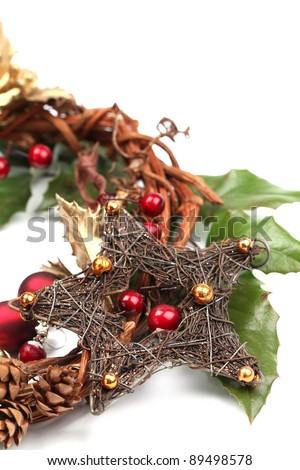 Christmas decoration isolated on white background. Shallow dof - stock photo