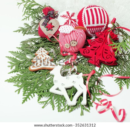 christmas decoration isolated , white background for post card greetings, toy design on tree macro vintage close up - stock photo