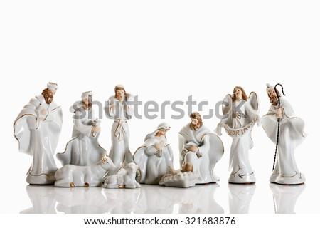 Christmas decoration, nativity scene, crib figurines - stock photo