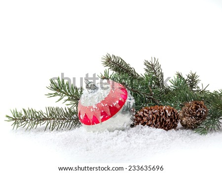 Christmas decoration of Christmas trees and cones on a white background - stock photo