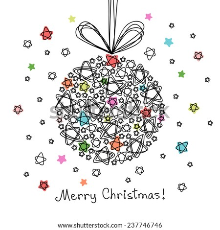 Christmas decoration of doodle stars. Hand drawn greeting card. Illustration in pencil sketch style for print, web - stock photo