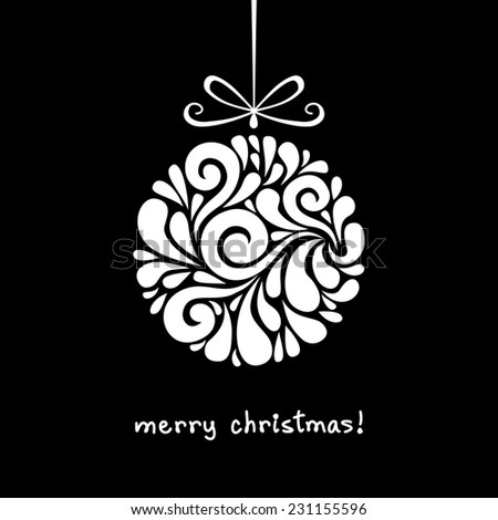 Christmas decoration of swirl shapes. Ball with bow. Greeting, invitation cute card. Original modern circle design element. Illustration for print, web - stock photo