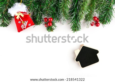 christmas decoration on a white background. Holiday card with red ball, x-mas gift and branch  - stock photo