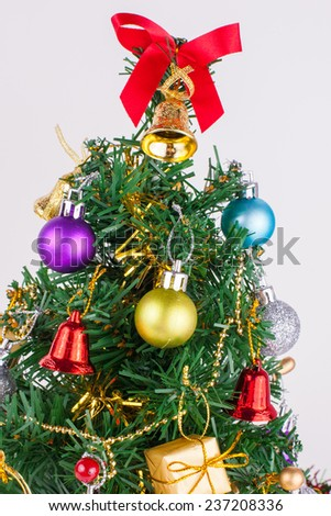 christmas decoration on a white paper background