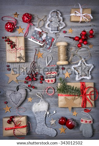 Christmas decoration on a wooden background - stock photo
