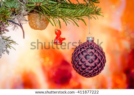 Christmas decoration on a xmas tree with baubles - stock photo