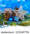 Christmas decoration on blue background - stock photo