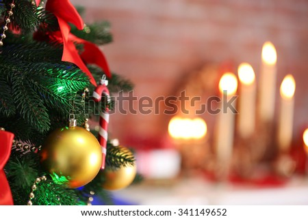Christmas decoration on bright color background - stock photo