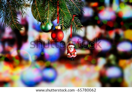 Christmas decoration on colorful light background