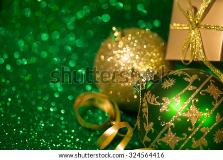 Christmas decoration on glitter background  - stock photo