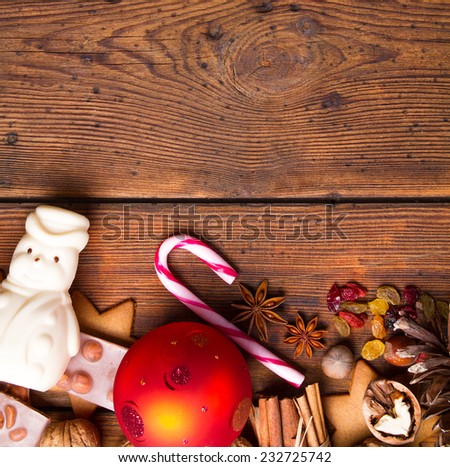 Christmas decoration on natural wooden table - stock photo