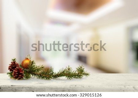 christmas decoration on old white wooden table in the living room - stock photo