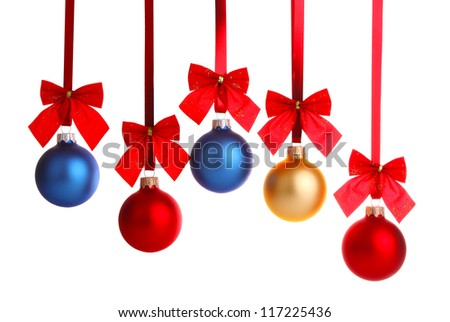 christmas decoration on ribbon with red bow isolated white background - stock photo