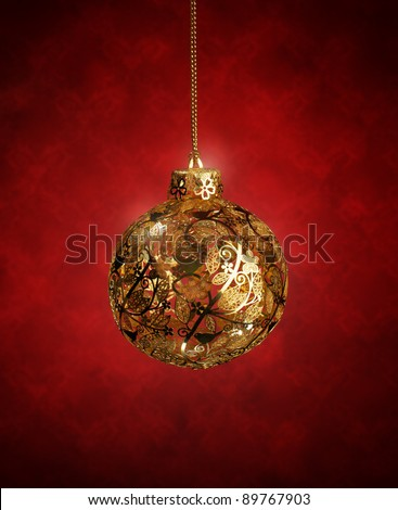 christmas decoration on the red bacground - stock photo