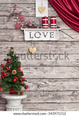 Christmas decoration on the wall - stock photo