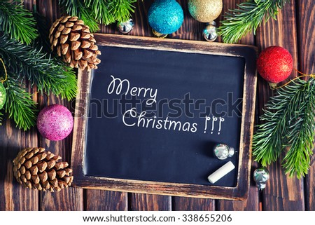 christmas decoration on the wooden table, christma background - stock photo