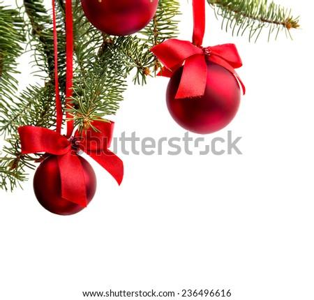 Christmas decoration on white background - stock photo