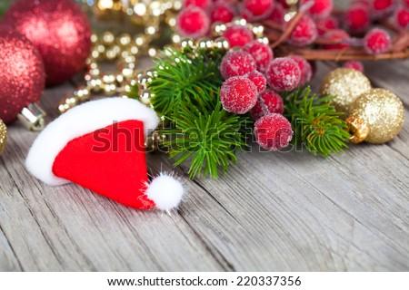 Christmas decoration on wood background, - stock photo